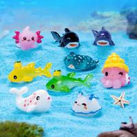Marine Animais Figurine Miniatura Fada Jardim Jardim Decoração Dos Desenhos Animados Dolphins Tartarugas Octopus Ornamentos Mini Resina Artesanato Acessório Adereços