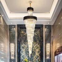 Otel salonu ev merdiven için uzun siyah avizeler kristal led lamba aydınlatma Yeni tasarım modern lüks büyük altın kolye kristal avize