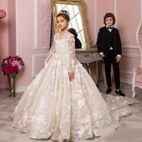 2020 Новая Принцесса Цветочные Девушки Платья для Свадьбы Грузящиеся Шере Кружева Аппликация Пухлый Суд Поезд Маленькие Дети Детские Платья Первые Причастия Платья