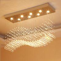 Kristal Dikdörtgen Avize Yağmur Damlası Kristal Tavan Işık Armatür Dalga Gömme Montaj Odası Düğün Centerpieces Yemek İçin