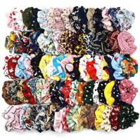 134Colors Lady fille cheveux Scrunchy Vintage Leopard Plaid Chouchous Dot floral Hairband Bandeaux élastiques femmes Ponytail Porte-GGA3229