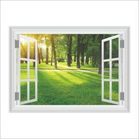 3D False Window Decorazione della parete Sunshine Forest Wall Sticker Camera da letto Camera Home Decor Paesaggi fai da te Poster Murale Carta da parati Adesivo