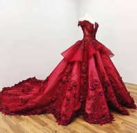 Borgogna lussuoso sfera fuori dalla spalla Lace abito da sera dei vestiti di Applique perline di fiore di promenade dei vestiti da sera su ordine formale del partito abiti