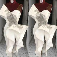 2020 neue weiße Cocktail-Prom-Kleider mit Perle Rüschen Mantel Kurzer Party Abendkleid Arabisch Ärmellos Plus Größe Robe de Soiree Guest Wear
