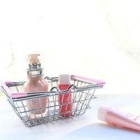 العربة البسيطة سوبر ماركت للتسوق لعبة أطفال سطح المكتب التجميل متفرقات منظم مع مقبض حديد سلة التخزين 14.7 * 10.3 * تلقي بال 5.8cm LXL888Q