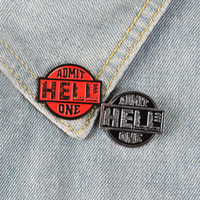 Cartoon HELL ADMIT ONE Perni di smalto Nero Red Badge Personalizzato Spille Pastel Bavero Denim Camicia Fresco Punk Hell Ticket Gioielli Regalo
