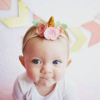 1 capachinho de unicórnio para bebés, bandoletes Mini-flores de rosa, arcos para bebés, bandoletes para bebés recém-nascidos, Varinhas para o cabelo e arcos