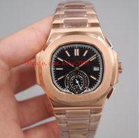 3 اللون الفاخرة جودة عالية العلامة التجارية ووتش 40.5 ملليمتر nautilus 5980 / 1R-001 الكلاسيكية 18 كيلو روز الذهب آسيا الساعات التلقائي الشفاف
