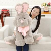 Dorimytrader Schöne riesige weiche Anime Bunny Plüsch Spielzeug Gefüllte Tiere Kaninchen Puppe Graue Geburtstag Weihnachten Geschenke für Kinder 100 cm dy61648
