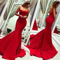 2020 Red abiti da sera senza spalline Formali Charming di usura lungo della sirena Backless Plus Size abiti di promenade abito da damigella d'onore a buon mercato
