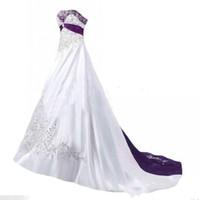 Yüksek Kalite Şık Gelinlik 2019 A Çizgi Straplez Boncuklu Nakış Beyaz Mor Vintage Gelinlik Custom Made