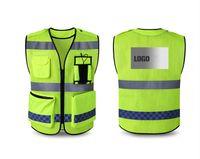 ücretsiz kargo Yansıtıcı yelek uyarı güvenlik görevlisi trafik grubu floresan ceket özel logo baskı Buiding yelek