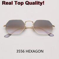Moda occhiali da sole donne del progettista di marca piccolo lampo in metallo Montatura Lente Occhiali da sole dell'annata degli uomini di vetro di Sun Hexagon 3556 gafas gradiente Flash