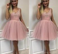 Симпатичные элегантные V-образные вырезывающие тюль домокоминские платья на молнии задний розовый коктейль выпускные вечеринки платья грабежные де-реции