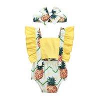 pudcoco verano piña dulce de la impresión ropa del mameluco determinados del cabrito de los bebés manga de la colmena Rompers Mono Trajes Set 0-24 M infantil
