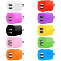 Cargador de velocidad rápida 2.1A + 1A Puertos de USB dual USB EE. UU. AC Inicio Viaje Adaptador de cargador de pared para iPhone Samsung S8 S9 S10 Note 8 9 10 HTC Android Teléfono
