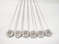 Новый дизайн ювелирных изделий серебристого цвета микро-паве кубический циркон кристалл cz буквы алфавита подвески ожерелье NK430