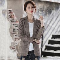 여성용 정장 블레이저 가을 봄 슬림 여성 블레이저 2021 캐주얼 정장 재킷 싱글 브레스트 한국 스타일 outwear chaquetas mujer 인쇄 p