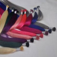"""8A Italie Colle 1G / s 100 g / lot Pré-Collés Fusion I-tip Extension de cheveux 16 """"-24"""" non-remy humains droites extensions de cheveux de cheveux humains brazilian"""