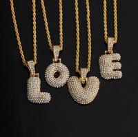 الأولية رسالة قلادة فقاعة رسالة سلسلة سلاسل الماس قلادة مثلج خارج قلادة من الذهب للرجال النساء acc026
