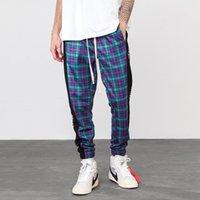 Harem pants Scottish Plaid Side Zipper faixa Corredores Calças retas Mens Hip Hop Hit Color Block Patchwork Streetwear