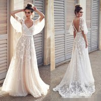 Sexy Beach Boho Lace Abiti da sposa Una linea New 2019 Appliques economici mezza manica Paese Holiday Abiti da sposa Backless