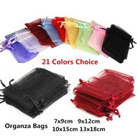 10pcs 7x9cm 9x12cm 10x15cm 13x18cm Organza Gift Bags Wedding Christmas Jewelry Packaging Bags & Pouches Birthday Party Supplies