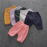 Toddler Pants Wrinkled Cotton Girls Bloomers Solid Long Trou...