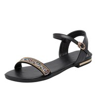 Genuine Leather Women Sandals Casual Crystal Summer Shoes Wo...