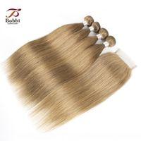 C бразильский прямые волосы Плетение Связки с закрытием Ash Blonde Color # 8 4 Связки с 4x4 Lace Closure Remy человеческих волос