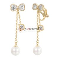 Yoursfs Comfortable Clip On Earrings for Women Dangling Pearl Halo Style Drop Earrings Bridal Jewelry
