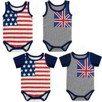 아이들 옷 여자 소년 아메리칸 플래그 Romper 신생아 유아 별 줄무늬 점프 수트 여름 아기 등반 의류 z0824