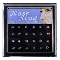 24 stks / set Hart Vorm Neus Ring Studs Fashion Body Piercing Sieraden Kristal Neus Ringen Vouwen Oor Kraakbeen Helix Piercing