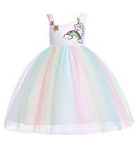 유럽 아기 소녀 드레스 장식 조각 유니콘 어린이 거즈 스커트 베이비 키즈 얇은 명주 그물 파티 드레스 소녀 레이스 볼 가운 투투 공주 드레스 W329