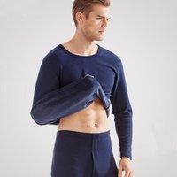 2018 новый термобелье мужская лонг джонс мужчины осень зима рубашка + брюки 2 шт. Комплект теплый толстый плюс бархат размер L-XXXL