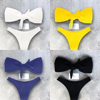 Beach Swimsuit Hot New Bow Bikinis Sexy Wrapped Chest Solid ...
