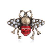 All'ingrosso-europee e americane pin perla abiti antichi esplosiva tridimensionale animato nuovo spilla ape