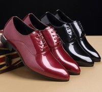 Black Red Patent Leather Derbies Shoes Mens Formal Dress Sho...