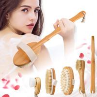 Setole naturali Spazzola da bagno Set esfoliante favorire la circolazione sanguigna della spazzola di massaggio in legno Viso Corpo Pennello a secco