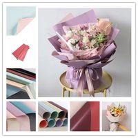 58 * 58cm fiori carta da imballaggio negozio di fiori bouquet di nozze imballaggi carta impermeabile a due colori a doppia faccia forniture JXW334