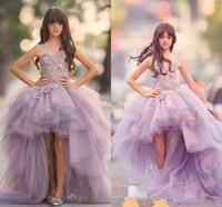 2020 Лаванды Высоких Низких девушки Pageant платье Кружевной аппликация рукава девушка цветок платье для свадьбы фиолетового Тюля Puffy Детей Причастия платья