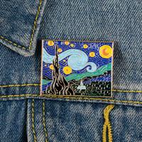 Van gogh las broches de la noche estrellada Pasadores de mezclilla de mezclilla Bandeja de la insignia de la joyería creativa para los amigos