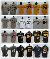 Magliette personalizzate da uomo da uomo Pittsburgh Pirates Jersey # 24 Barry Bonds 27 Maglie da baseball di Kent Tekulve Yellow Grey White