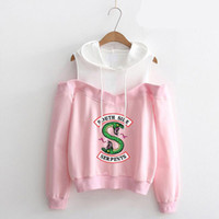 Riverdale Hooded Sweatshirt Donna Southside Serpants Stampato a maniche lunghe con spalle scoperte Hip Hop Pink Pullover con cappuccio Streetwear