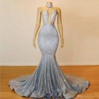 2019 sparkly silber Sheer High Hals Mermaid Prom Kleider Lange Spitze Pailletten Perlen Backless Chic Abendkleider Formale Partykleid