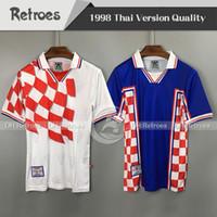 1998 الرجعية suker 98 كأس العالم قصيرة الأكمام المنزل بعيدا كرة القدم الفانيلة الكبار الأبيض أزرق كرة القدم قميص