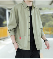 Solid Color Letter Mens Shirts Autumn Spring Loose Cargo Coa...