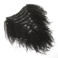 헤어 익스텐션 100 % 버진 머리카락 140g 3A 3B 3C 아프로 변태 곱슬 4A 4B 4C 클립의 클립 말레이시아