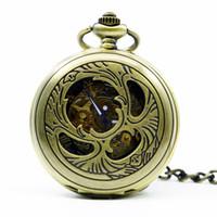 Relógio de bolso do vintage 6 peças Números Skeleton Mecânica Fob Assista romanos Pendant Unisex