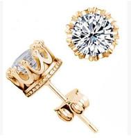 Группа New Crown Wedding серьги стержня Новый 925 Серебро CZ Симулированные Diamonds Обручальное Красивые ювелирные изделия Кристалл Кольца Серьги 2 цвета